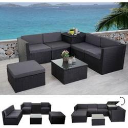 Poly-Rattan-Garnitur MCW-D21, Gartengarnitur Sofa Set ~ anthrazit, Kissen grau ohne Deko-Kissen