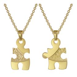 trendor 75950 Puzzle Partner Set Gold auf Silber + 2 Halsketten