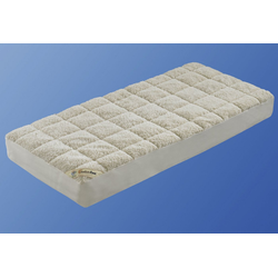 Matratzenauflage Unterbett Lammflor mit Spannauflage, f.a.n. Schlafkomfort, 2,7 cm hoch, Wollmischung, hohe klimaregulierende Wirkung 90 cm x 190 cm x 2,7 cm