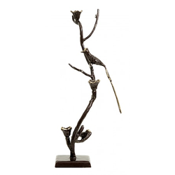 Nordal Kerzenhalter Vogel Braun / Golden 66 cm