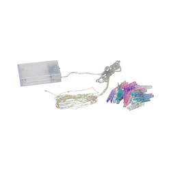 STAR TRADING LED-Lichterkette LED Clip Lichterkette - 16 bunte Wäscheklammern - 30 warmweiße LED - 2,9m - Batterie - Timer