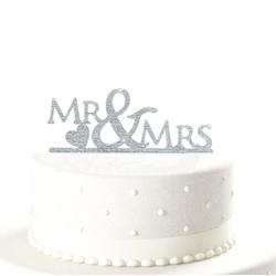Hochzeitstorten Topper Mr & Mrs Kuchendeckel Hochzeit - silber