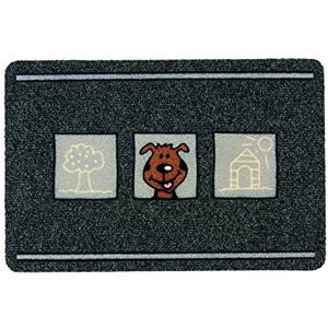 ASTRA 0455015178 Premium Rips-Matte Flocky Color Türmatte, Polypropylen, Hunde - Grau/Anthrazit, 40 x 60 x 0, 8 cm