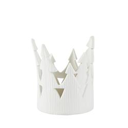KJ Collection Teelicht Weiß Porzellan 7,5x9,5cm