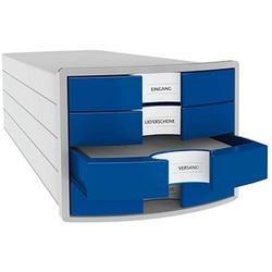 HAN Schubladenbox Impuls blau DIN C4 mit 4 Schubladen