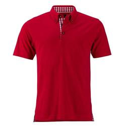 Klassisches Poloshirt im Trachtenlook   James & Nicholson rot/rot/weiß L