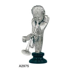 Casa Padrino Luxus Bronzefigur Trompeter Silberfarben - Bronze Figur Büste - Musiker - Trompete