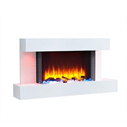 RICHEN Elektrokamin Aieda, RICHEN Elektrokamin Aieda - Elektrischer Standkamin mit Heizung, 3D-Flammeneffekt & Fernbedienung - Weiß, 632 x 1200 x 240