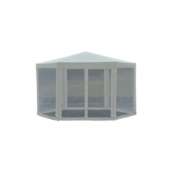 Outsunny Pavillon Pavillon in sechseckiger Form natur