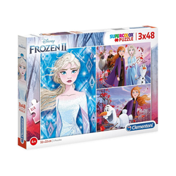 Clementoni® Puzzle Puzzle 3 x 48 Teile Supercolor Die Eiskönigin 2, Puzzleteile