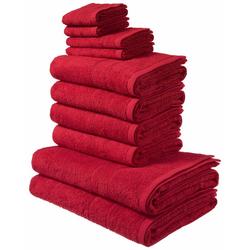 my home Handtuch Set Inga (Set, 10-tlg), mit feiner Bordüre rot