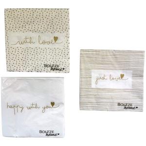 3x 20 Servietten With Love Gold 33 x 33 cm Punkte, Streifen & Herz für Geburtstag oder die Kaffeetafel