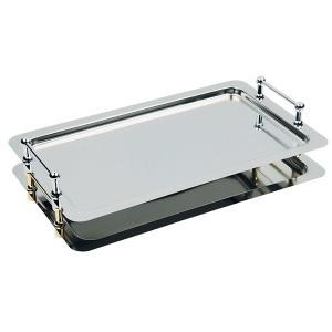 APS BUFFET-STAR GN 1/1 System-Tablett, Mehrstöckiges Tablett-System hochglanzpoliert, Maße (B x L x H): 53 x 32,5 x 4 cm, vergoldete Griffe