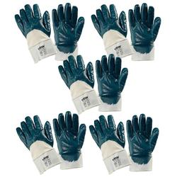 Baumwoll-Arbeitshandschuhe mit blauer Nitril-Beschichtung Gr. 10,5, 5 Paar