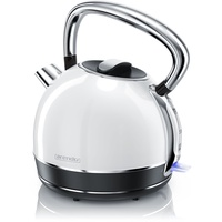 Arendo - Wasserkocher Edelstahl - Teekessel im Vintage Retro Style - 1,7 Liter - 2200 Watt - austauschbarer Kalkfilter - automatische Abschaltung - Weiß
