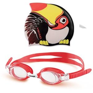 HEAD Uni Tauchbrille Set Meteor Character, Unisex, Set Meteor Character, schwarz/rot, Einheitsgröße