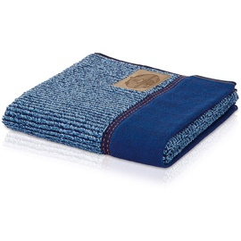 Möve Handtuch Denim Längsrippe blau