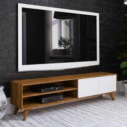 TV Lowboard in Weiß und Wildeiche 180 cm breit