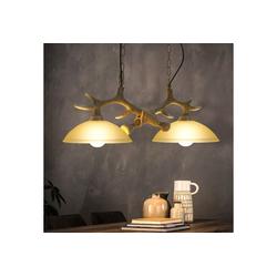 ZMH Pendelleuchte Geweih Pendelleuchte Esstisch Pendellampe Esstischlampe aus Glas 2 * E27 LED Hängeleuchte Vintage Industrie Hängelampe Rustikal Für Esszimmer Wohnzimmer Küchen Flur