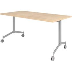 bümö Klapptisch OM-KF16, Konferenztisch fahrbar & klappbar Staffeltisch - Dekor: Eiche beige