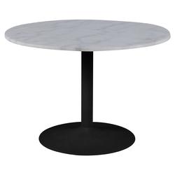 Stół do jadalni okrągły Fliese średnica 110 cm biały marmur na czarnej podstawie