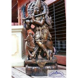 BAD-3116 Buddhistische Tempel Tänzerin beim Flötenspiel Buddhafigur 85cm 93kg