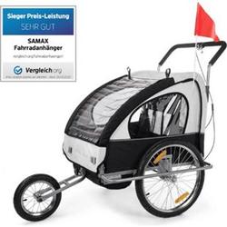 SAMAX 2in1 Fahrradanhänger / Jogger gefedert... Weiss/Schwarz