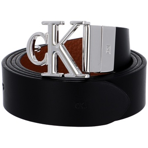 Calvin Klein Reversible Logo Small Leather Belt W100 Black Cuoio Pebble