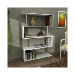 moebel17 Standregal Bücherregal Sunrise Weiß, mit ausgefallenem Design