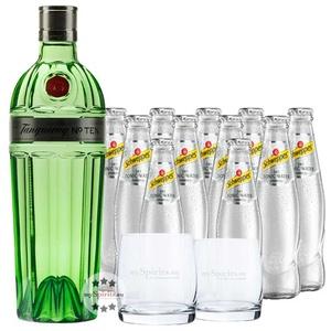 Tanqueray No. 10 Gin & 11 x Schweppes Dry Tonic & Gläser