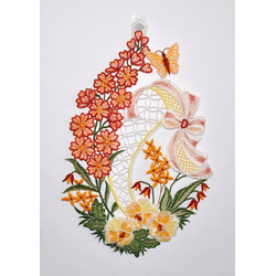 Stickereien Plauen Fensterbild Blumenwiese, Hakenaufhängung