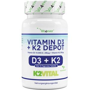 Vitamin D3 10.000 I.E + Vitamin K2 200 mcg Menaquinon MK7 Depot - 180 Tabletten - 99,7+% All-Trans (K2VITAL® von Kappa) - Laborgeprüft - Vegetarisch - Hochdosiert - Premium Qualität
