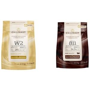 CALLEBAUT Receipe No. W2 - Kuvertüre Callets, Weiße Schokolade, 28% Kakao, 2500 G, 1er Pack & Receipe No. 811 - Kuvertüre Callets, Zartbitterschokolade, 54,5% Kakao, 1x 2500 G