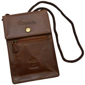 flevado Brustbeutel Brusttasche Gürteltasche Umhängetasche Leder Braun mit RFID Schutz
