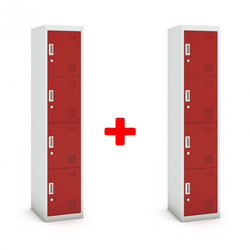 Viertüriger schrank, zylinderschloss, 1800 x 380 x 450 mm, grau/rot,