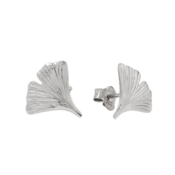 Gallay Paar Ohrstecker 375 Weißgold Ohrringe 12mm Ginkgoblatt 9Kt