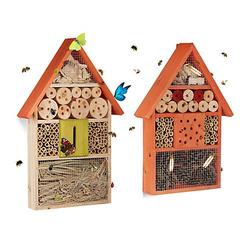 2 tlg. Insektenhotel Set Schmetterlingshaus Nisthilfe Insektenkasten orange Holz