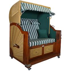 Strandkorb Mahagoni XL grün / weiß 21⁄2 Sitzer
