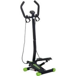 HOMCOM Sidestepper mit Haltegriff schwarz, grün 40 x 48 x 118 cm (LxBxH)   Fitnessgerät Stepptrainer Heimtrainer Swing Stepper