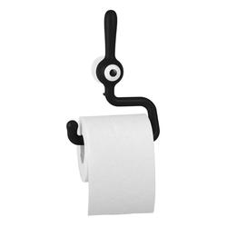 KOZIOL Toilettenpapierhalter Toq Solid Schwarz, mit Saugnapf
