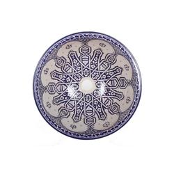 Casa Moro Waschbecken Mediterranes Keramik-Waschbecken Fes99 rund Ø 40 cm bunt H 18 cm Handmade Waschschale, Marokkanisches Handwaschbecken für Badezimmer Küche Gäste-WC, WB40309, Handmade
