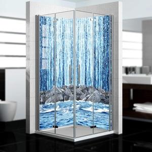 dedeco Alu Eck-Duschrückwand mit Wasserfall V14 Motiv - 2 x 90x200 cm - Perfekt als Badrückwand zum Fliesenersatz, passend für viele Bäder - Made in Germany