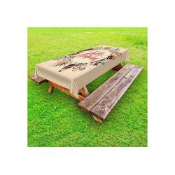 Abakuhaus Tischdecke dekorative waschbare Picknick-Tischdecke, Hallo Herbst Bunter Herbstkranz 145 cm x 210 cm