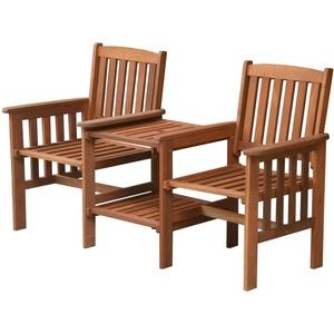 Tete-a-Tete Zwei-Sitzbank mit Tisch Holz Gartenbank Hartholz Merantiholz MEMPHIS