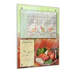 Bilderdepot24 Glasbild, Memoboard - Familien Essensplaner - Tomate und Mozarella 60 cm x 80 cm