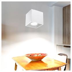etc-shop Pendelleuchte, Pendelleuchte Zylinder Decken Pendelleuchte Esszimmer Lampen modern, Aluminium weiß, 1x GU10, LxH 10x80 cm, Wohnzimmer