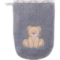 Vossen Waschlappen Teddy (2-tlg), mit niedlicher Stickerei blau