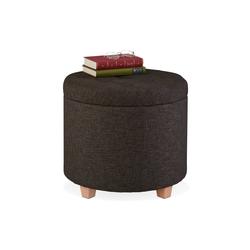 relaxdays Sitzhocker Runder Sitzhocker mit Stauraum braun