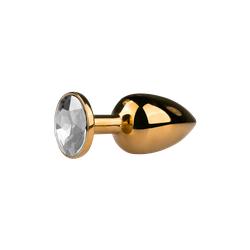 Goldener Analplug mit silbernen Kristall - SML