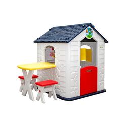 LittleTom Spielhaus Kinder Spielhaus ab 1 Garten Kinderhaus mit Tisch, mit Tisch und 2 Stühlen